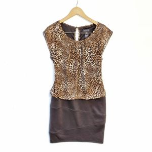 Leopard Blouson Animal Print Bandage Sheath Dress